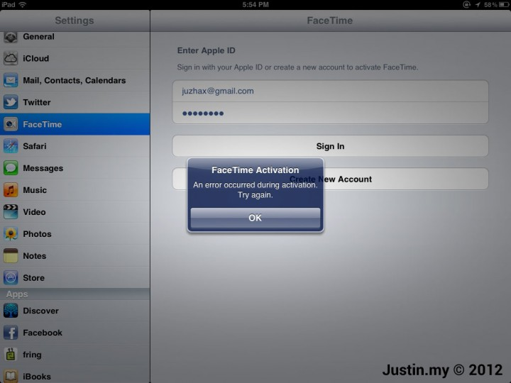 FaceTime Activation An error occurred during activation. Try Again. 01