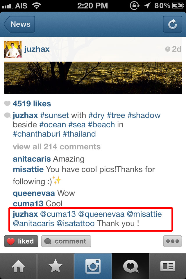 How to mention user in Instagram 2