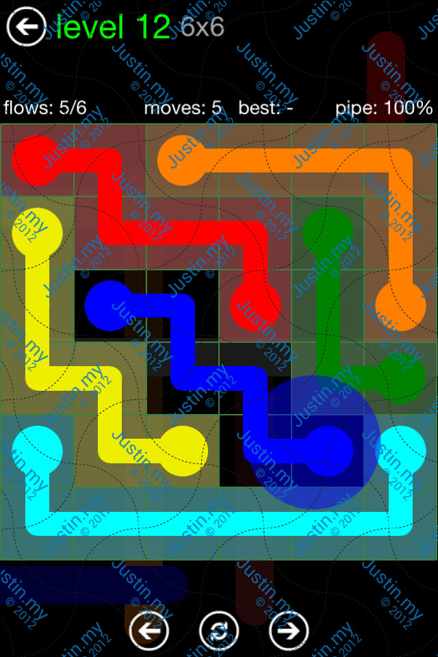 Flow Game Green Pack 6x6 Level 12