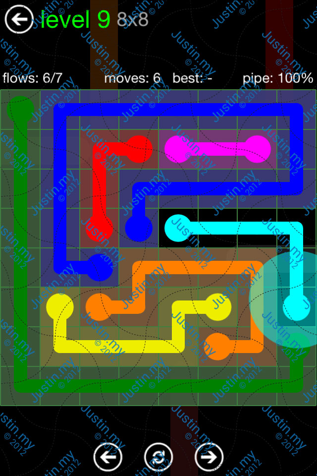 Flow Game Green Pack 8x8 Level 09