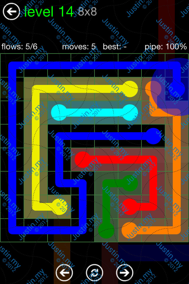 Flow Game Green Pack 8x8 Level 14