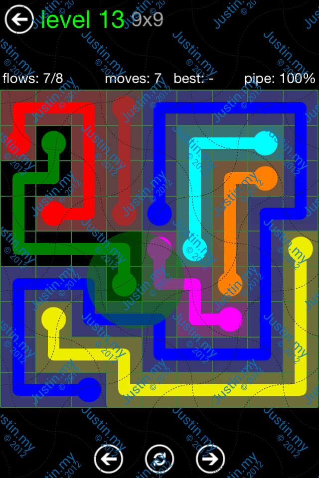Flow Game Green Pack 9x9 Level 13