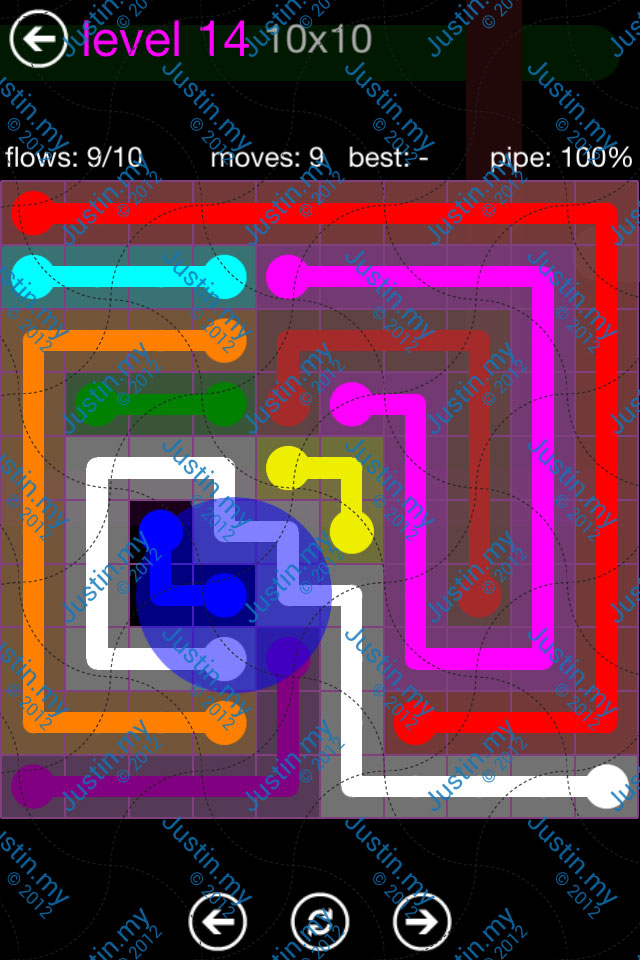 Flow Game Purple Pack 10x10 Level 14
