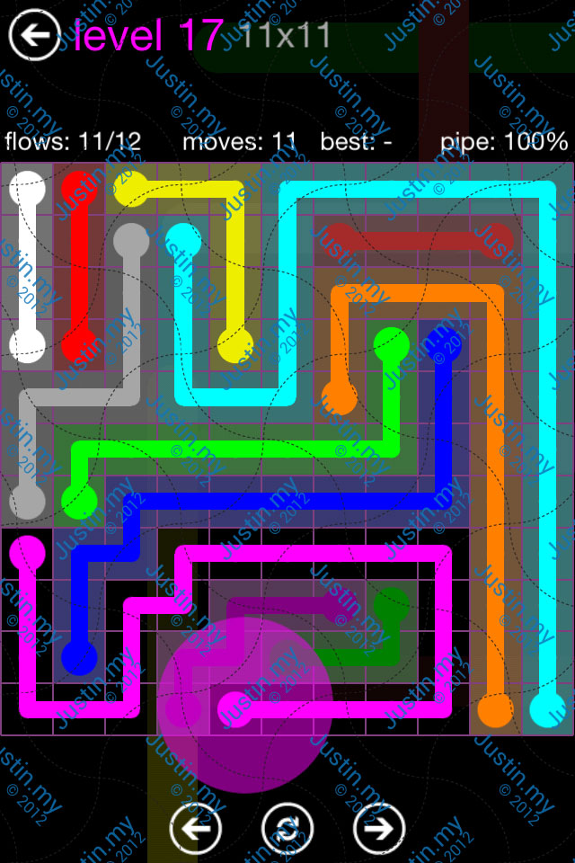 Flow Game Purple Pack 11x11 Level 17