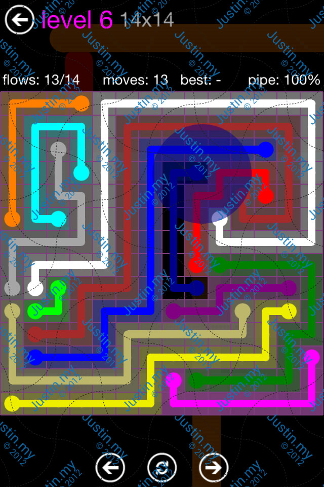 Flow Game Purple Pack 14x14 Level 06