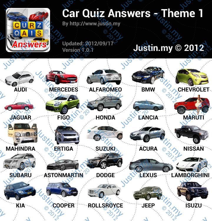 Car Quiz Answers Theme 1