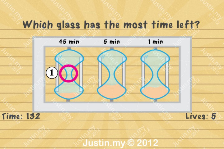 Impssible Test 2 - which glass has the most time left?