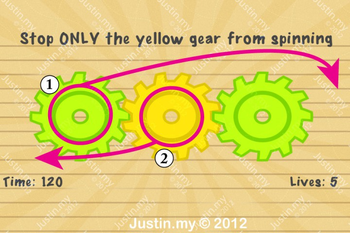 Impssible Test 2 - Stop ONLY the yellow gear from spinning