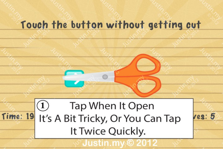 Impssible Test 2 - Touch the button without getting cut