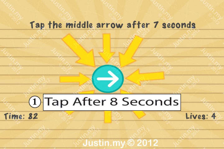 Impssible Test 2 - Tap the middle arrow after 7 seconds