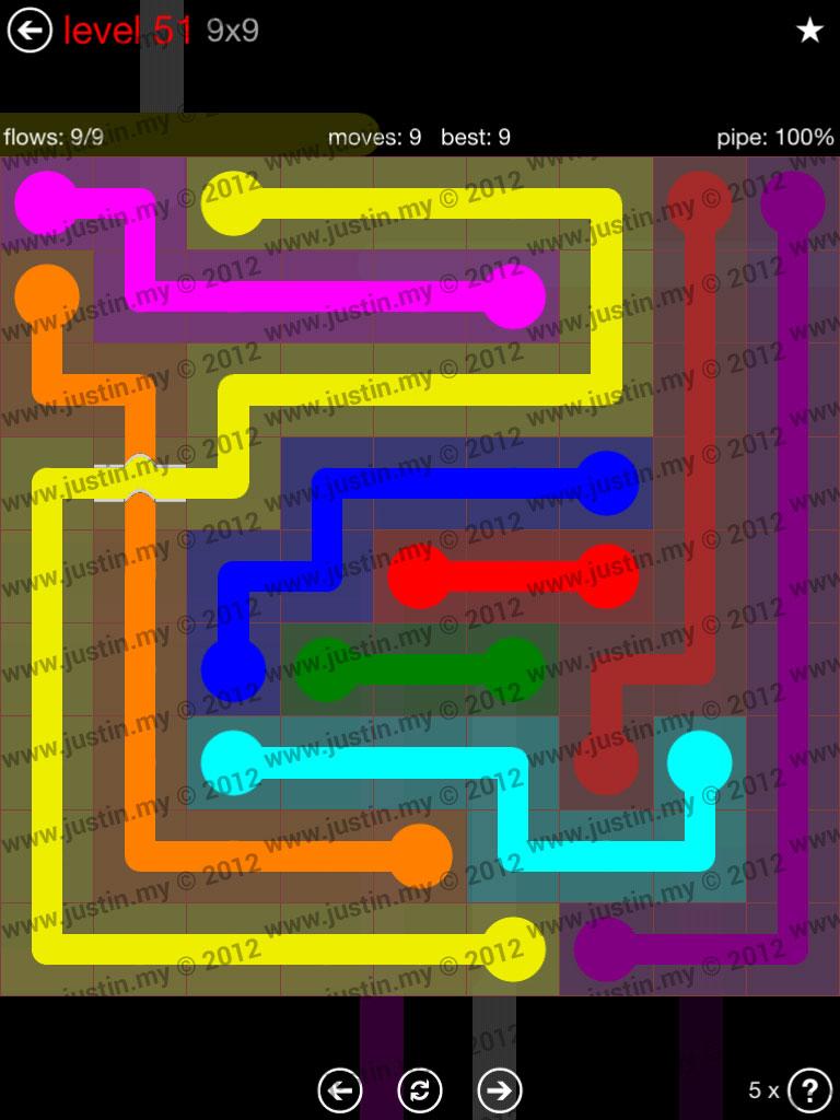 Flow Bridges 9x9 Level 51