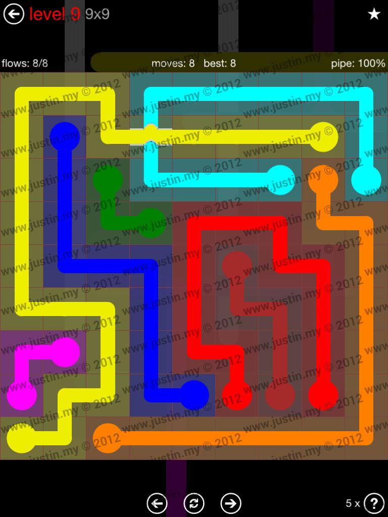 Flow Bridges 9x9 Level 9