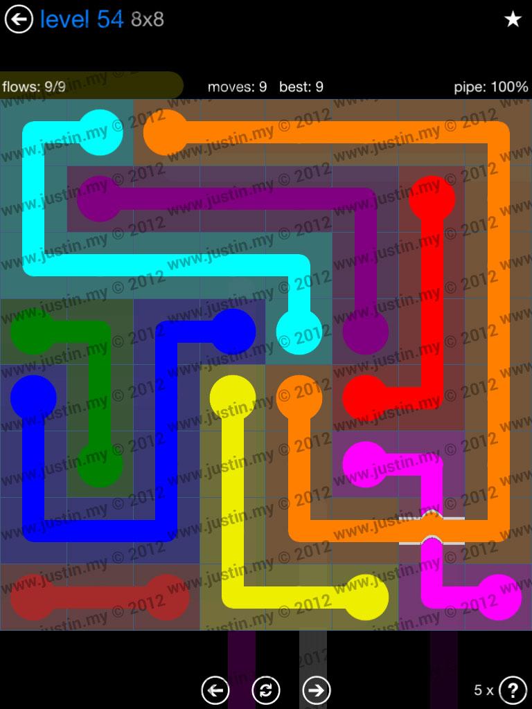Flow Bridges 8x8 Level 54