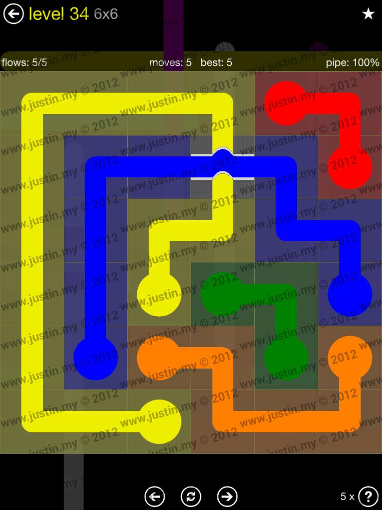 Flow Bridges 6x6 Level 34