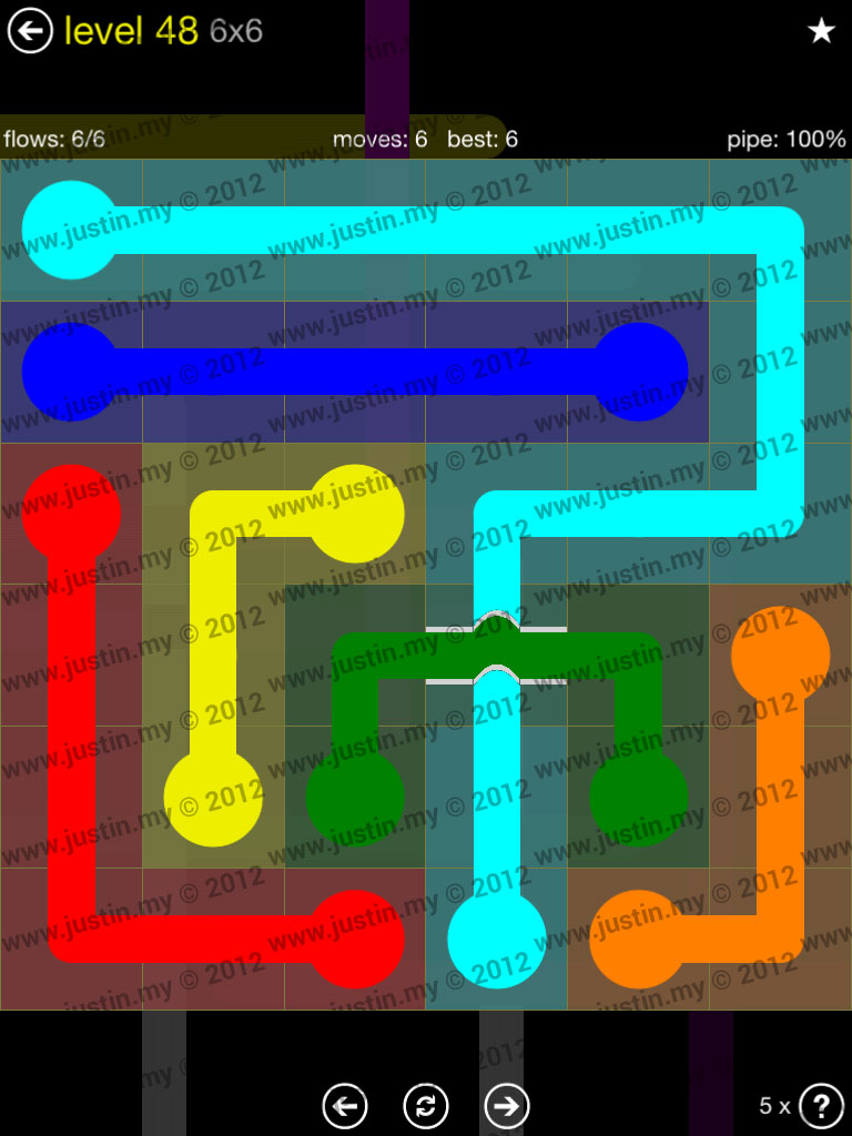 Flow Bridges 6x6 Level 48