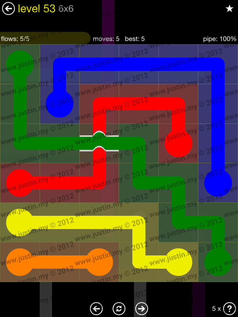 Flow Bridges 6x6 Level 53