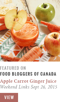 Apple Carrot Lemon Ginger Juice | Food Bloggers of Canada Weekend Links for September 26, 2015 Recipe Feature // JustineCelina.com