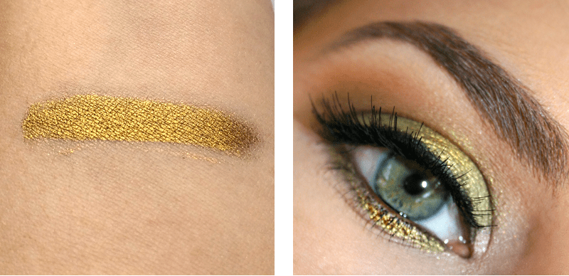 Best in Beauty | February | Makeup Geek Liquid Gold Pigment Swatch // JustineCelina.com