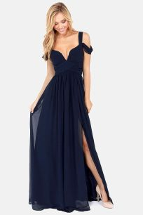 Bariano Ocean of Elegance Navy Blue Maxi Dress Lulus.com