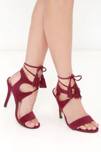 Forces of Nature Red Suede Lace-Up Heels