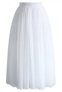 Ethereal Tulle Mesh Midi Skirt in White
