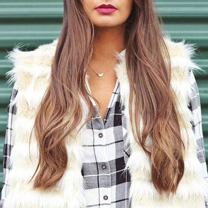 Faux Fur + Distressed Denim | Bite Beauty Aubergine // JustineCelina.com