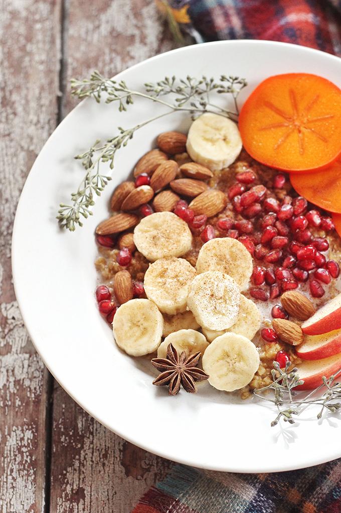 Winter Breakfast Bowl with Pumpkin Spice Steel Cut Oats // JustineCelina.com