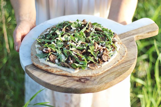 Al Fresco Summer Dining Inspiration | Vegan White Mushroom Pizzas on the Grill // JustineCelina.co,