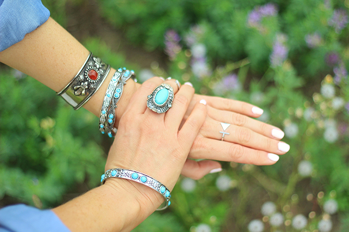 What to Wear to   The Calgary Stampede   Vintage Turquoise and Stone Silver Jewellery // JustineCelina.com