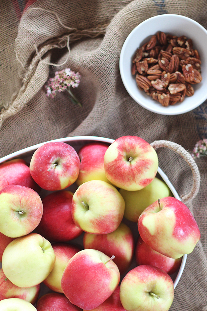 Apple Pie Steel Oats with Candied Maple Pecans | Ambrosia Apples from the Okanagan Valley, British Columbia, Canada // JustineCelina.com
