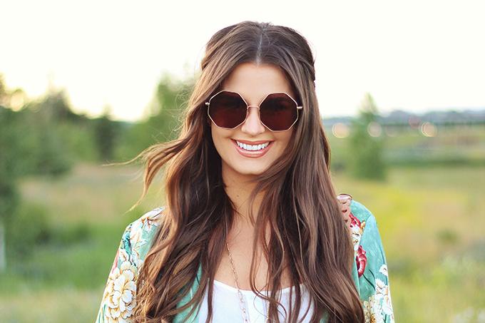 Summer 2017 Trend Guide   Kimono Love   Metal Hexagon Sunglasses // JustineCelina.com