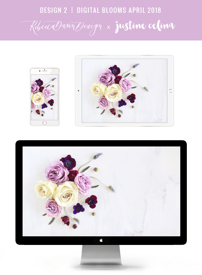 Digital Blooms March 2018 | Free Pantone Inspired Desktop Wallpapers for Spring | Free Lavender Floral Tech Wallpapers | Design 2 // JustineCelina.com x Rebecca Dawn Design