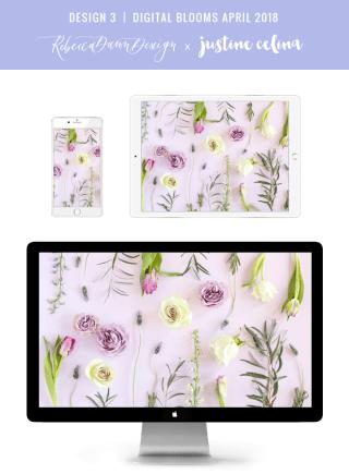 Digital Blooms April 2018 | Free Pantone Inspired Desktop Wallpapers for Spring | Free Lavender Floral Tech Wallpapers | Design 3 // JustineCelina.com x Rebecca Dawn Design