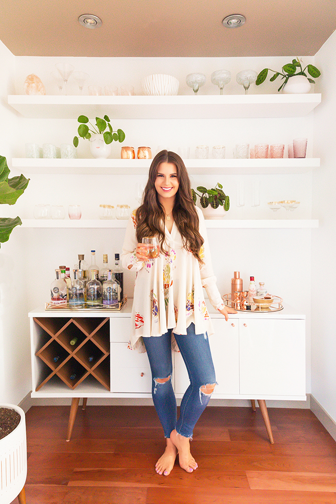 Our Dining Room Bar | A Built-In Look on a Budget | How I created our home bar for less that $1000 | Wayfair All Modern Lemington Wine Rack Sideboard Buffet Table Review | IKEA Lack Shelves to Create a Built in Bar // JustineCelina.com