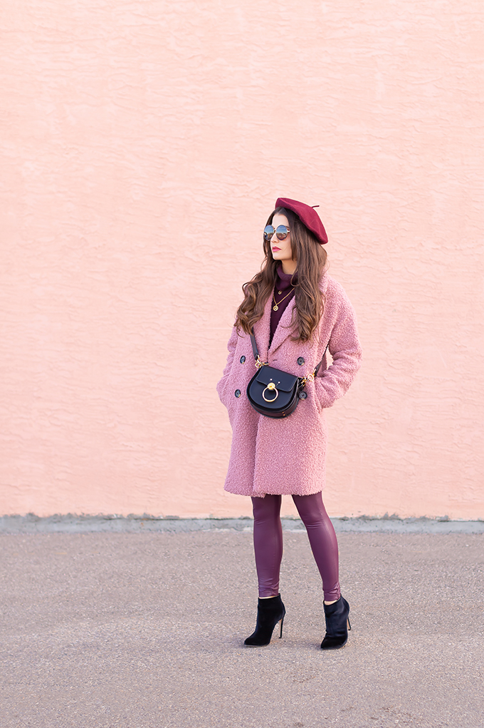 Winter 2019 Lookbook | Raspberry Beret: My Favourite Warm, Comfortable Outfit Formula | Topshop Blush Teddt Coat Styled with a Wool Raspberry Beret, H&M burgundy sweater, Burgundy Joe Fresh Leather Leggings, Velvet Ankle Booties and the Artisan Anything Lara Leather Crossbody In Black (Amazing Chloe Tess Dupe!)  | Stylish Winter 2019 Outfit Ideas | Valentine's Day Outfit Ideas for Cool Climates // Calgary, Alberta, Canada Fashion & Lifestyle Blogger // JustineCelina.com