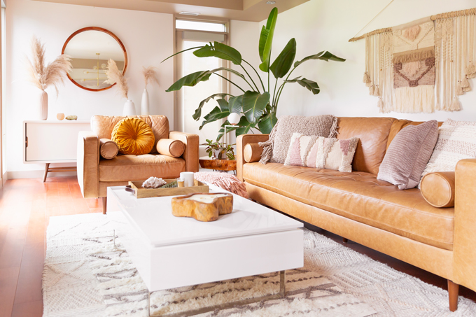 How to Transition Your Decor Into Fall   Easy and inexpensive fall decorating ideas   JustineCelina's Inner City Calgary bohemian, mid-century modern apartment   A Bohemian, Mid-Century Modern Living Room featuring Urban Outfitters Round Pintuck Pillow in Mustard   Fall Decor 2019 Trends   Bohemian, Mid Century Modern Fall Decor   Pantone Fall Winter 2019 / 2020 Interior Design Trends   Fall Decorating DIY   Calgary Lifestyle, Interior Design and Home Decor Blogger // JustineCelina.com