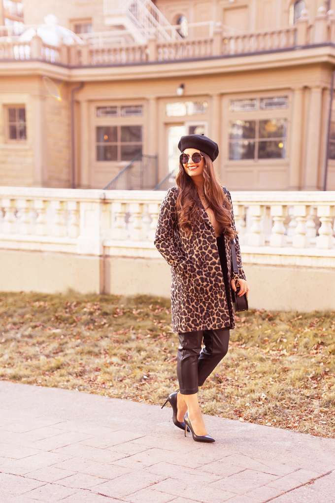 Autumn 2019 Lookbook: Leopard & Leather   Top Fall / Winter 2019 Trends   Top Autumn 2019 Trends and How to Wear Them    Brunette woman wearing H&M vegan leather trousers with a leopard print coat, black beret, black leather pointed toe pumps and a black Chloe Tess   Chic Fall / Winter 2019 Outfits   How to Style Leopard Print for 2019 / 2020   How to Faux Leather Pants   Top Calgary Fashion & Creative Lifestyle Blogger // JustineCelina.com
