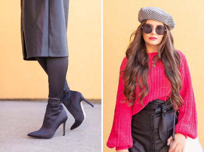 WINTER / SPRING 2020 LOOKBOOK | Urban Chic | Brunette woman wearing a Vegan Leather Button Down Midi, Chenille Magenta Statement Sleeve Sweater, Zara Houndstooth Beret, Black Circular Sunglasses, Cream Faux Fur Bucket Bag and Satin Black OTK Pointed Toe Boots | Top Transitional Winter to Spring 2020 Trends | Canadian Winter / Spring Lookbook | How to Wear Spring 2020's Mini Dress | Transitional Winter to Spring Fashion for Canadians // JustineCelina.com