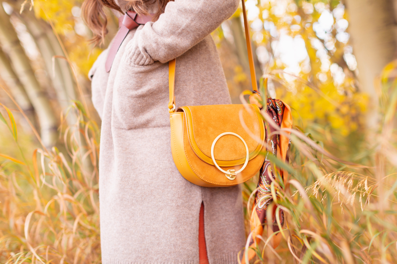 Early Autumn 2020 Lookbook | Cozy Coatigan | Brunette woman wearing a beige coatigan, cognac tie-detail belt and mustard crossbody saddle bag with a vintage paisley scarf tied to the strap during the fall | Top Fall 2020 Trends | Boho Fall 2020 Outfit Ideas | Top Fall 2020 Trends | Fall on the Alberta Prairies | How to Style a Coatigan | The Best Coatigans | Bohemian Fall outfit Ideas | Cottagecore Fall Outfit Ideas | Calgary Alberta Fashion & Lifestyle Blogger // JustineCelina.com