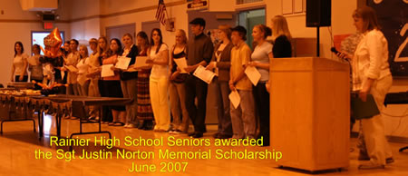 2007 Seniors awarded Sgt Justin Norton Memorial Scholarship