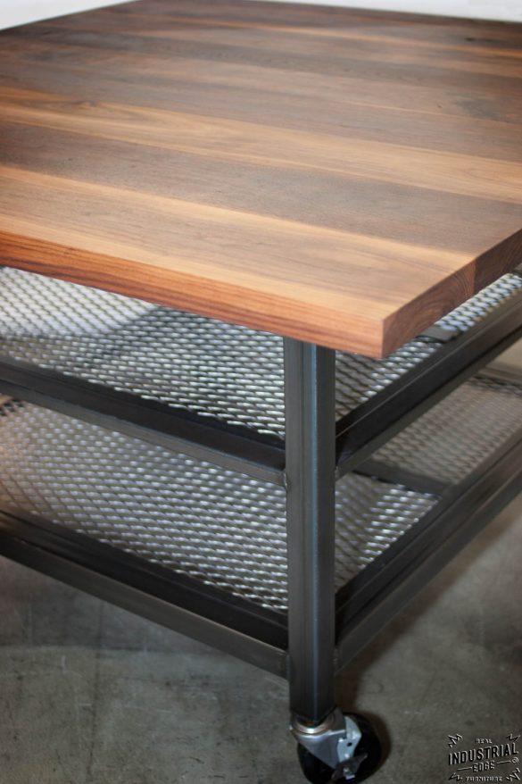 Walnut Amp Steel Industrial Kitchen Island Dining Table
