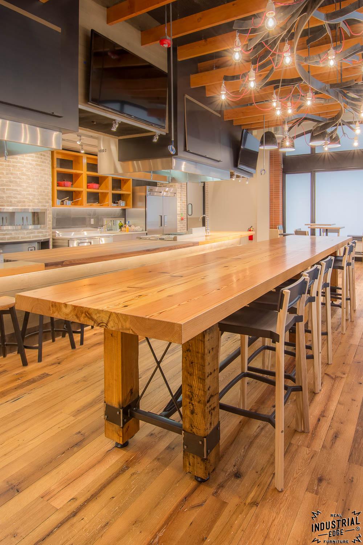 Community Tasting Table Reclaimed Heart Pine Amp Steel Real Industrial Edge Furniture Custom