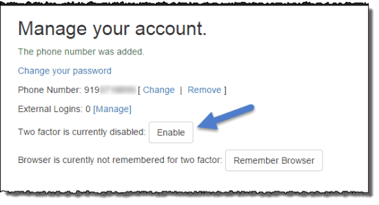 Enable two factor authentication for your account
