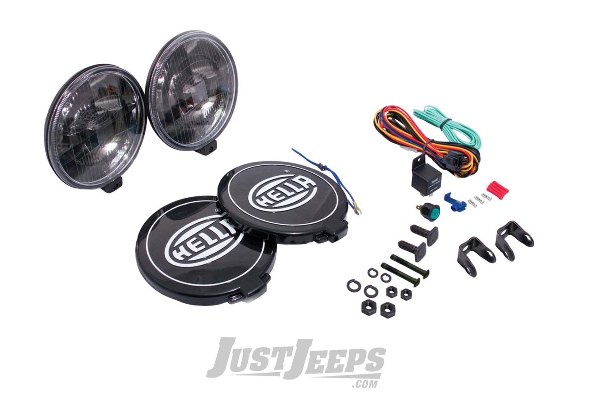 Just Jeeps Hella 500 Black Magic Driving Lamp Kit