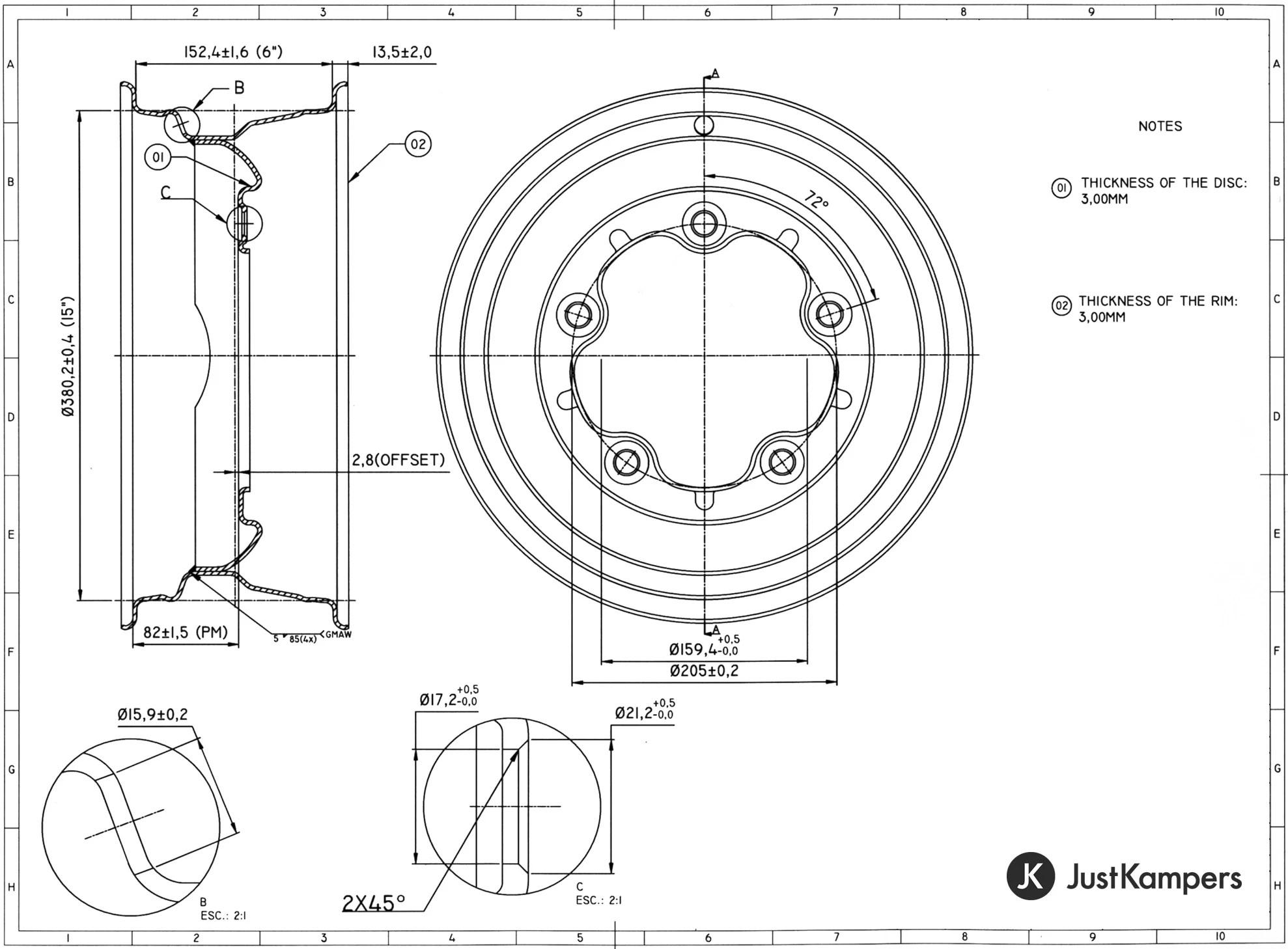 Just Kampers Standard Steel Smoothie Wheel 6x15 5x205 Vw