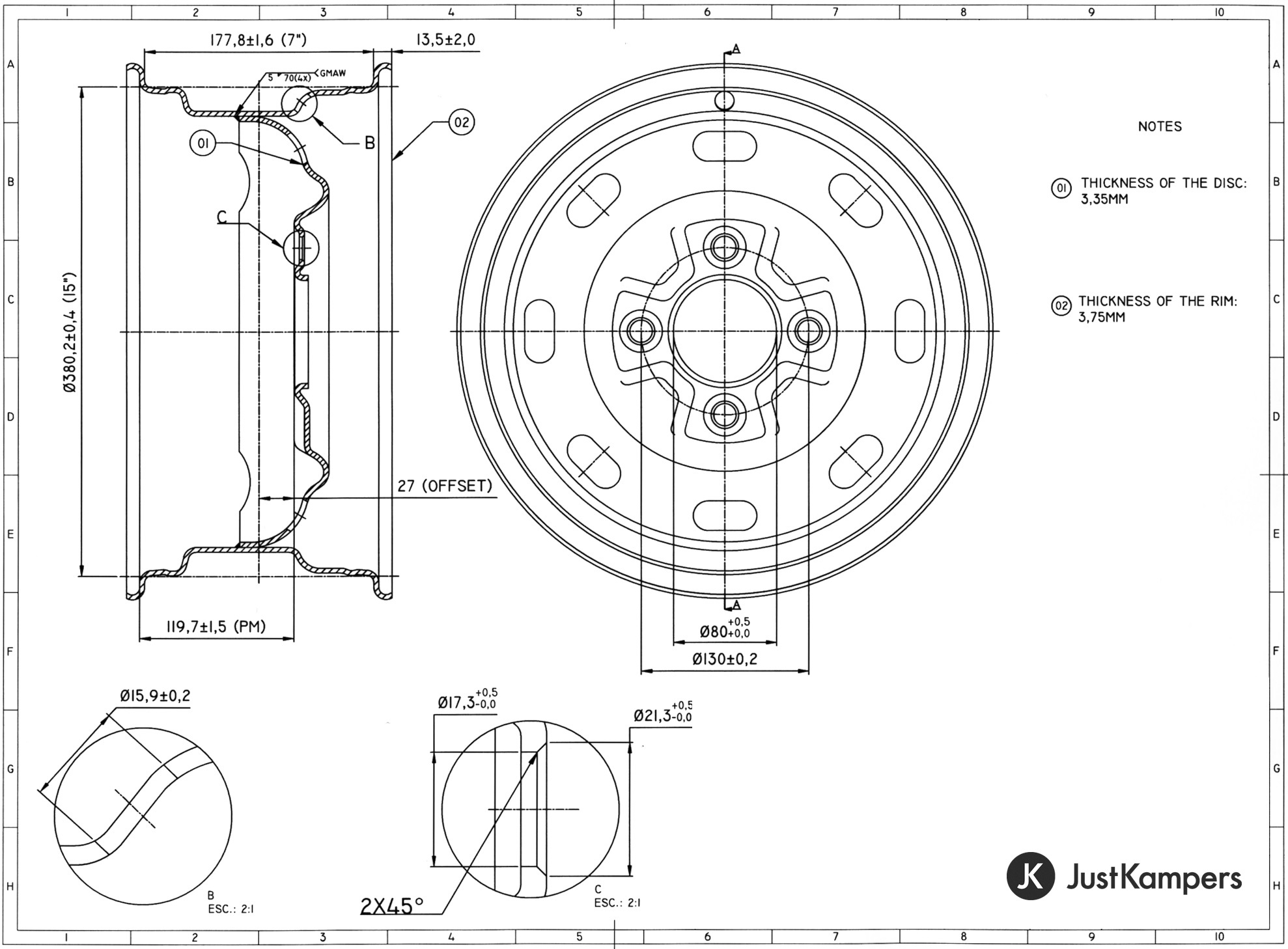 Just Kampers Steel Standard Style Wheel 7 X 15 4 X 130 Vw