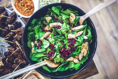 spinach chicken pomegranate salad AIP