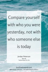 """Pinterest pin image of quote by Jordan Peterson: """"Compare yourself with who you were yesterday, not with who someone else is today."""""""