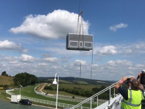 Loo pod goes on racecourse roof