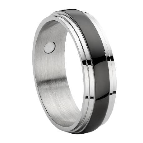 Stainless Steel Ring With Black Enamel Inset Just Mens Rings